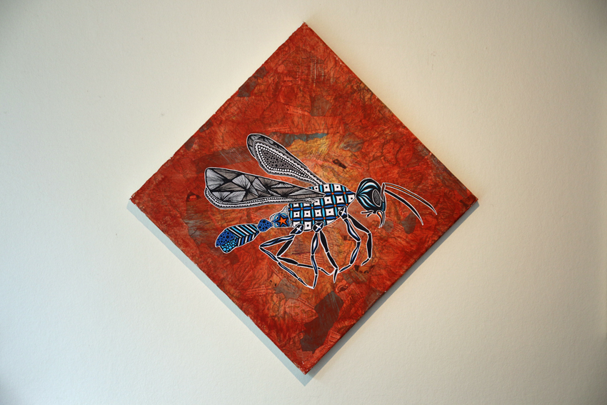Flying ant on collage map