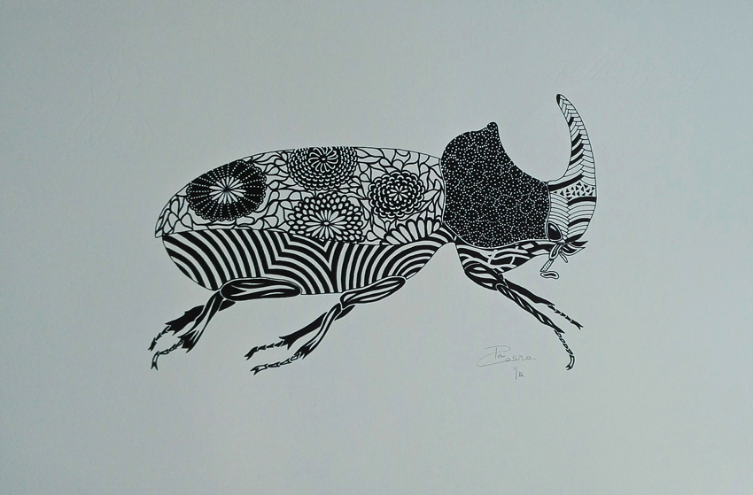 Screen print - Rhinoceros beetle