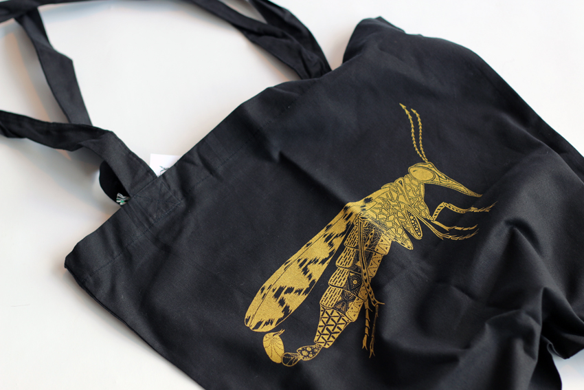 Black tote bag - golden scorpionfly (TB004)