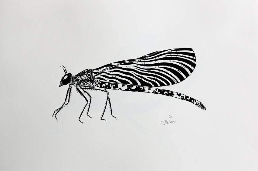 Screen print - Damselfly (P007)