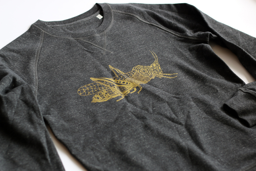 Men - Dark heather grey with golden Grasshopper - S (SWA018)
