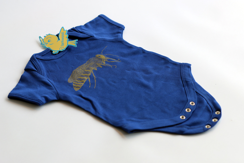 Bodysuit - Royal blue with golden sand wasp - 3-6mths (B013)