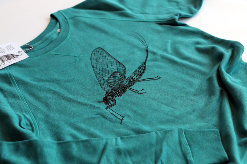 Men - Mid heather teal with black Mayfly - L (SWA042)