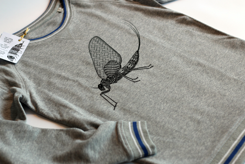 Women - Heather grey with black Mayfly - L (SWA038)