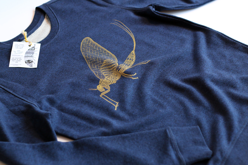 Unisex - Black heather blue with golden Mayfly - S (SWA046)