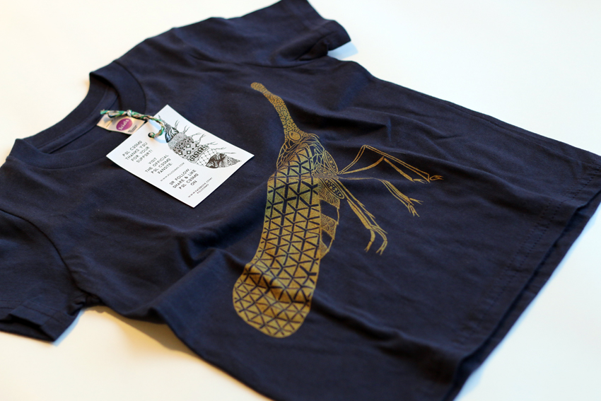 Kids - Navy blue with golden Lanternfly - 2yrs (TS026)