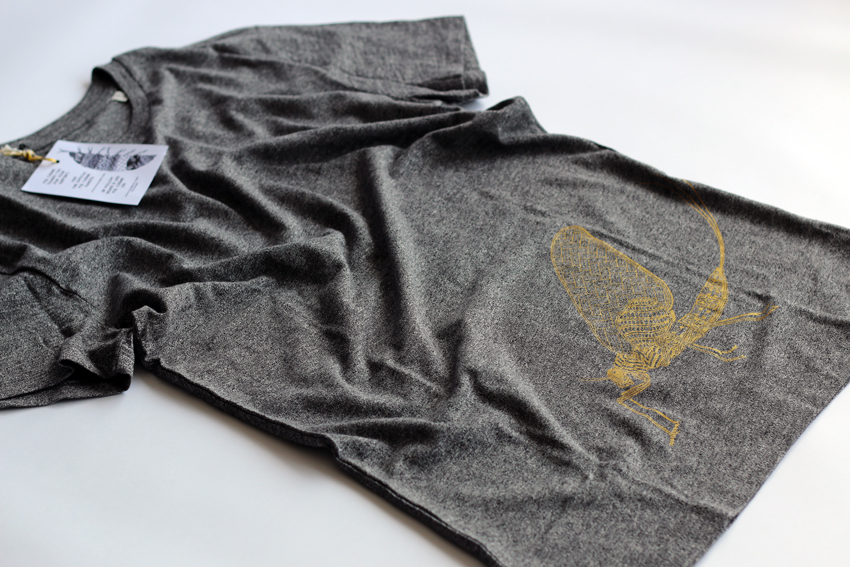 Men - Heather steel grey with golden Mayfly - M (TS068)