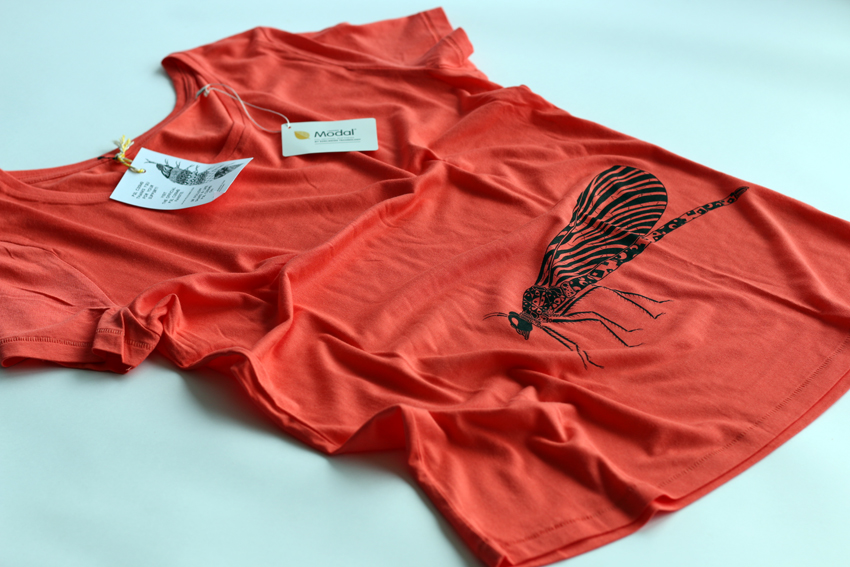 Women - Hot coral with black Damselfly - M (TS056)