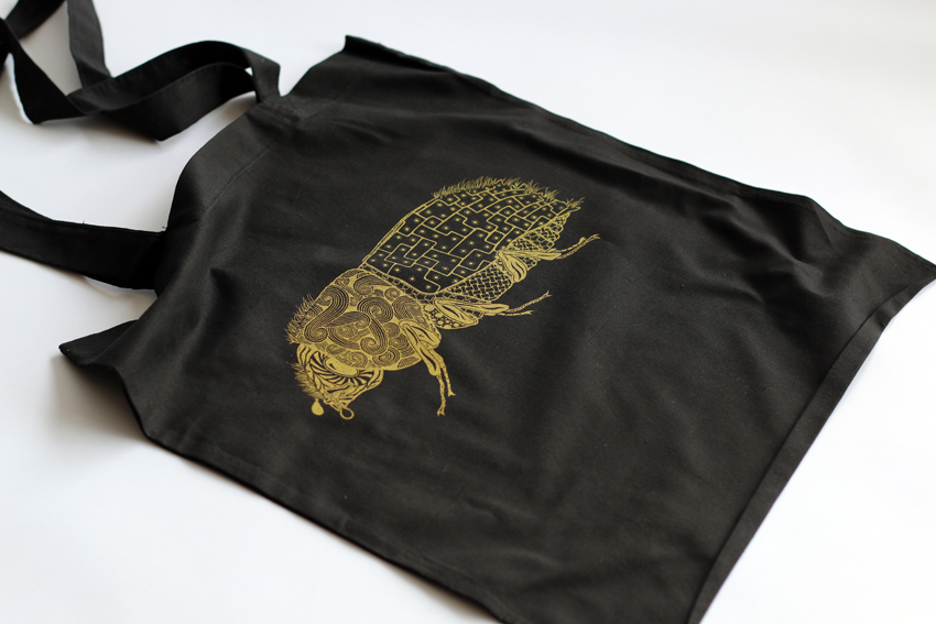 Black tote bag with golden Bark beetle (TB007)