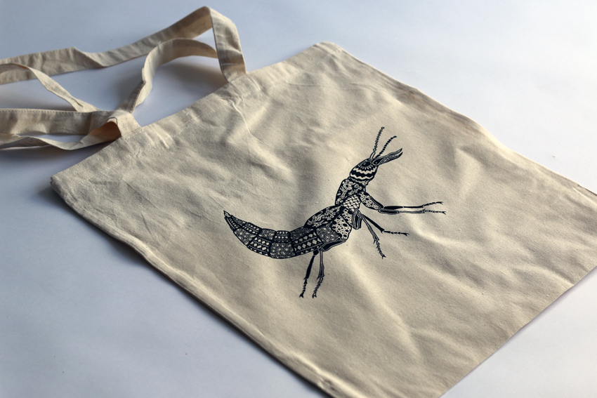 Natural tote bag with black Beetle (TB010)