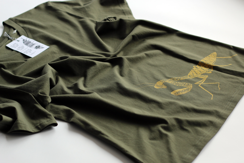 Men - Khaki with golden Praying Mantis - M (TS035)