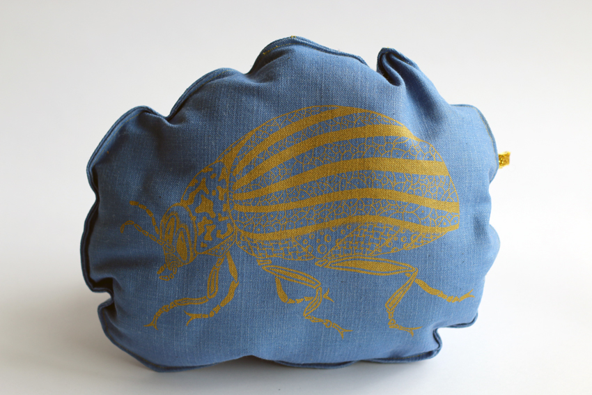 Stuffed insect - Blue denim with golden Beetle (SC003)